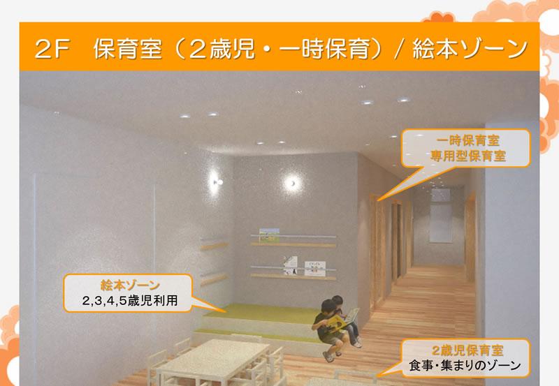 2F 保育室(2歳児・一時保育)/絵本ゾーン